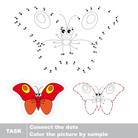 red butterfly: Red butterfly in vector to be traced by numbers. Vector visual game for children.