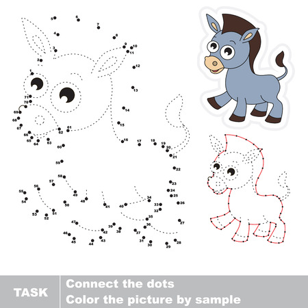 joining the dots: Funney grey donkey in vector to be traced by numbers. Vector visual game for children.