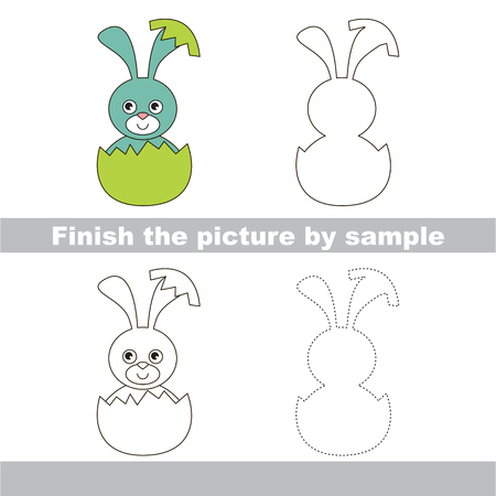 eggshell: Drawing worksheet for children. Finish the picture and draw the cute Blue Bunny in eggshell Illustration