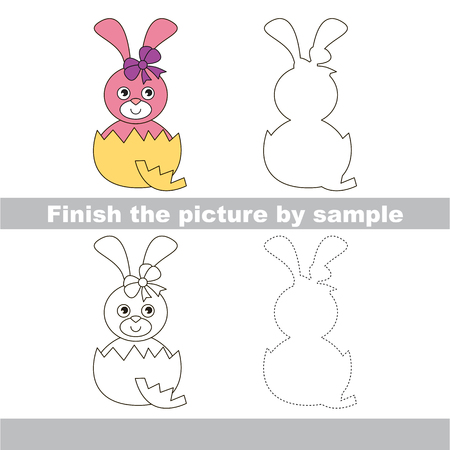 eggshell: Drawing worksheet for children. Finish the picture and draw the cute Pink Bunny in eggshell