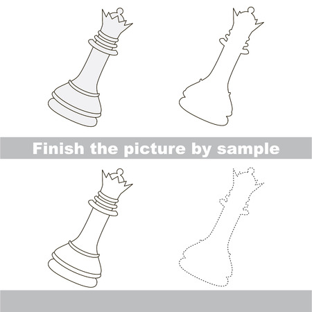 finishing school: Drawing worksheet for children. Finish the picture and draw the cute Chess queen