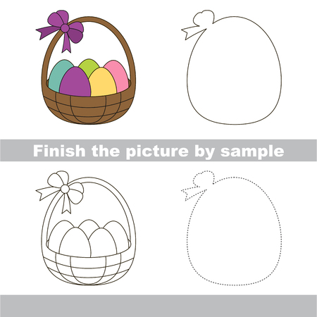 worksheet: Drawing worksheet for children. Finish the picture and draw the cute Easter backet