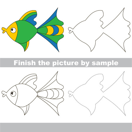 finishing school: Drawing worksheet for children. Finish the picture and draw the cute Fish Illustration