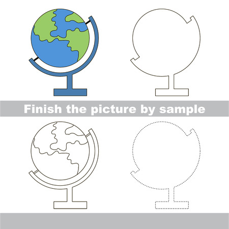 worksheet: Drawing worksheet for children. Finish the picture and draw the cute Globe
