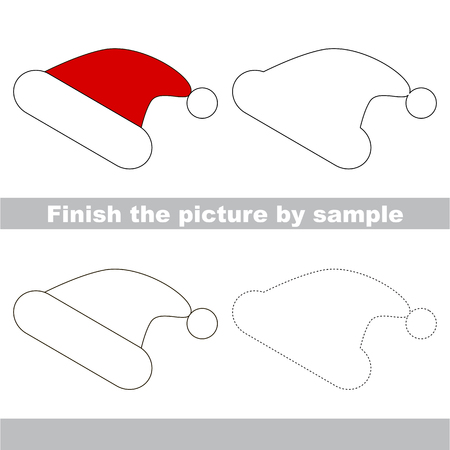 winter clothing: Drawing worksheet for children. Finish the picture and draw the cute Winter hat