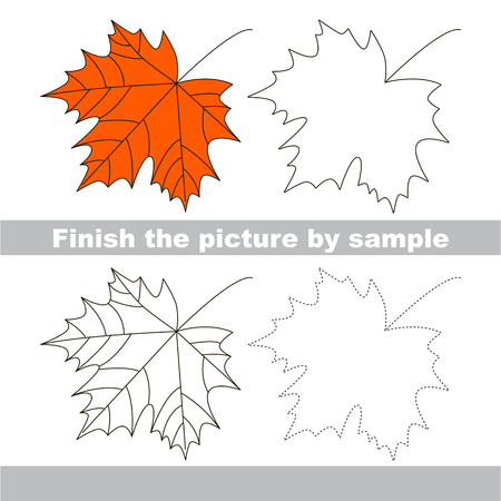 finishing school: Drawing worksheet for children. Finish the picture and draw the cute Maple Illustration