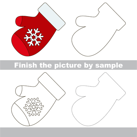 mitten: Drawing worksheet for children. Finish the picture and draw the cute Mitten