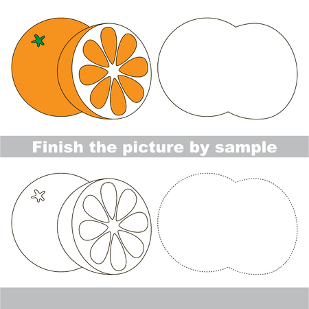 worksheet: Drawing worksheet for children. Finish the picture and draw the cute Orange
