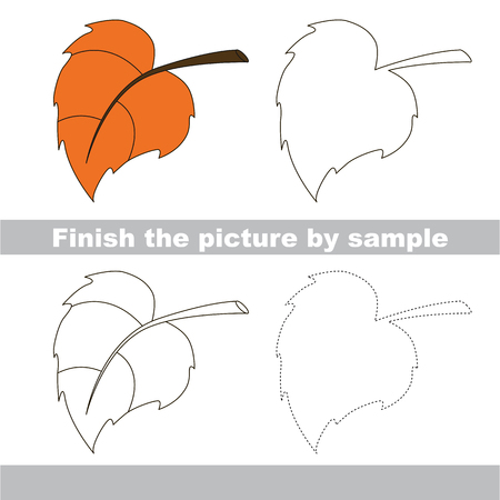finishing school: Drawing worksheet for children. Finish the picture and draw the cute Autumn leaf
