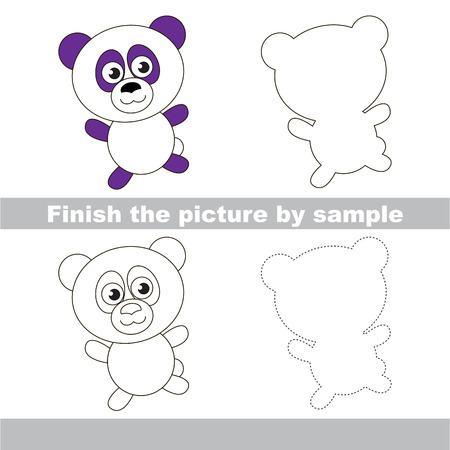 worksheet: Drawing worksheet for children. Finish the picture and draw the cute Panda Illustration