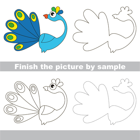 worksheet: Drawing worksheet for children. Finish the picture and draw the cute Peacock
