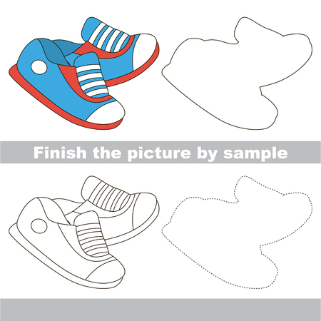 finishing school: Drawing worksheet for children. Finish the picture and draw the cute Shoe Illustration