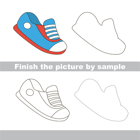 worksheet: Drawing worksheet for children. Finish the picture and draw the cute Shoe Illustration
