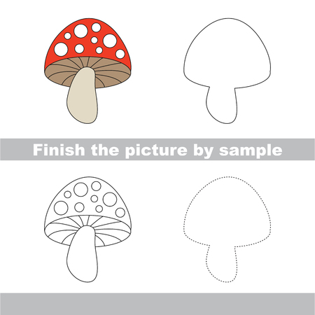 toadstool: Drawing worksheet for children. Finish the picture and draw the cute Toadstool Illustration