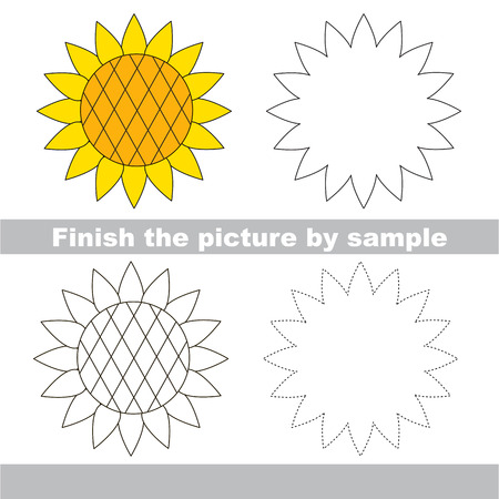 sunflower drawing: Drawing worksheet for children. Finish the picture and draw the cute Sunflower