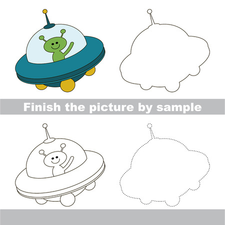 ufo: Drawing worksheet for children. Finish the picture and draw the cute Ufo