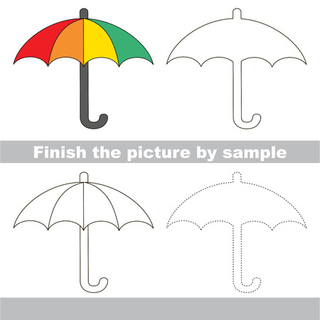 worksheet: Drawing worksheet for children. Finish the picture and draw the cute Umbrella