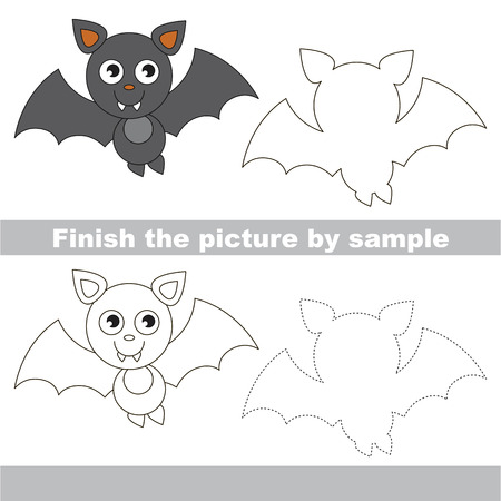 vampire bat: Drawing worksheet for children. Finish the picture and draw the cute Vampire bat Illustration