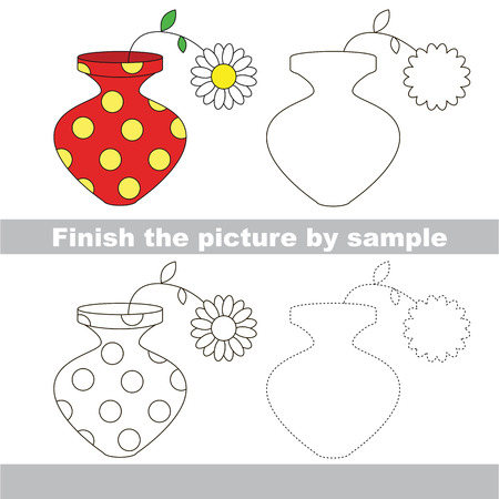 worksheet: Drawing worksheet for children. Finish the picture and draw the cute Red vase