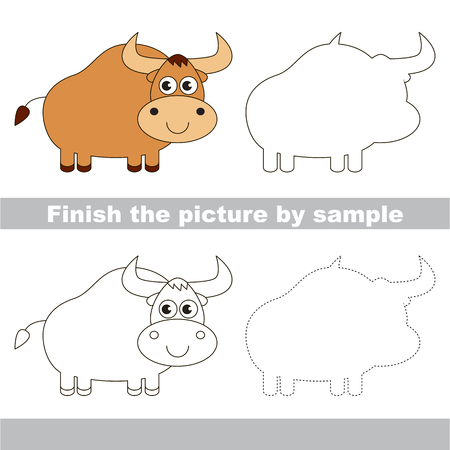 yak: Drawing worksheet for children. Finish the picture and draw the cute Yak