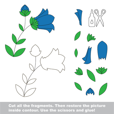 bluebell: Use scissors and glue and restore the picture inside the contour. Paper game for kids. Simple kid application with Bluebell