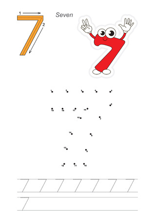 handwriting: Vector exercise illustrated alphabet. Learn handwriting. Connect dots by numbers. Tracing worksheet for figure Seven