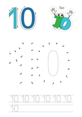 joining the dots: Vector exercise illustrated alphabet. Learn handwriting. Connect dots by numbers. Tracing worksheet for figure Ten