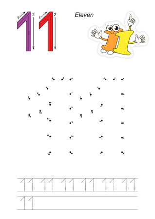 connect the dots: Vector exercise illustrated alphabet. Learn handwriting. Connect dots by numbers. Tracing worksheet for figure Eleven Illustration