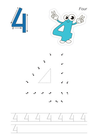 tracing: Vector exercise illustrated alphabet. Learn handwriting. Connect dots by numbers. Tracing worksheet for figure Four. The colorful version.