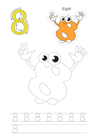 tracing: Vector exercise illustrated alphabet. Learn handwriting. Page to be traced. Complete english alphabet. Tracing worksheet for figure Eight Illustration