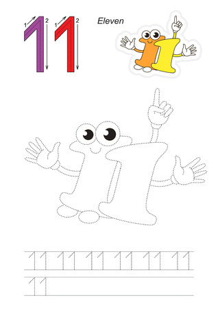 eleven: Vector exercise illustrated alphabet. Learn handwriting. Page to be traced. Complete english alphabet. Tracing worksheet for figure Eleven Illustration