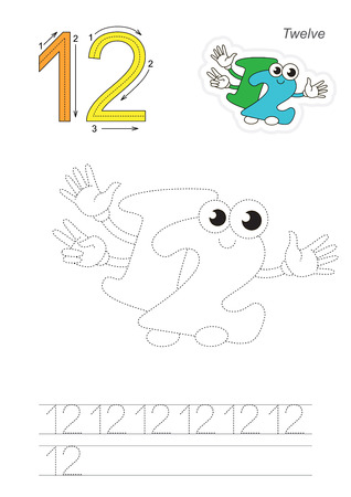 twelve: Vector exercise illustrated alphabet. Learn handwriting. Page to be traced. Complete english alphabet. Tracing worksheet for figure Twelve
