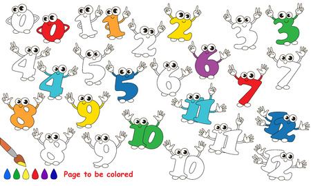 kids fun: Set of Figures from 0 to 12 to be colored. Coloring book for children. Visual game.