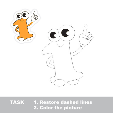 dashed: Figure One in vector to be traced. Restore dashed line and color the picture. Trace game for children.