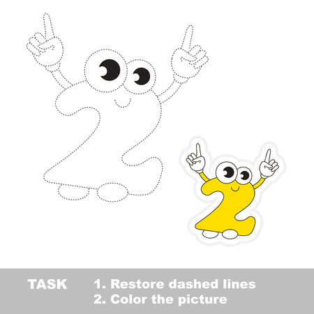 dashed: Figure Two in vector to be traced. Restore dashed line and color the picture. Trace game for children.