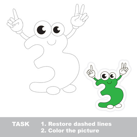 three dots: Figure Three in vector to be traced. Restore dashed line and color the picture. Trace game for children. Illustration