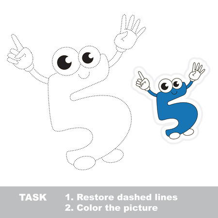 restore: Figure Five in vector to be traced. Restore dashed line and color the picture. Trace game for children. Fugures and fingers.