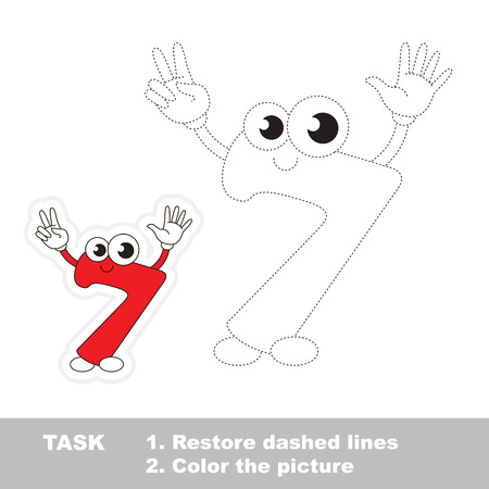 dashed: Figure Seven in vector to be traced. Restore dashed line and color the picture. Trace game for children.