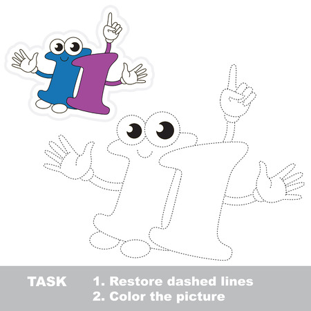 eleven: Figure Eleven in vector to be traced. Restore dashed line and color the picture. Trace game for children.