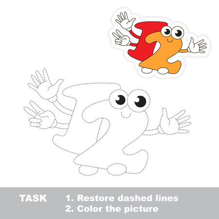 dashed line: Figure Twelve in vector to be traced. Restore dashed line and color the picture. Trace game for children. Illustration