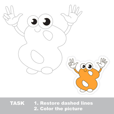 figure of eight: Figure Eight in vector to be traced. Restore dashed line and color the picture. Trace game for children.