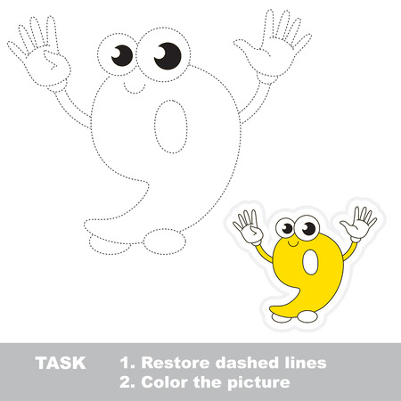 restore: Figure Nine in vector to be traced. Restore dashed line and color the picture. Trace game for children.