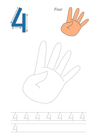 tracing: Vector exercise illustrated alphabet. Learn handwriting. Page to be traced. Complete english alphabet. Tracing worksheet for figure Four. Fugures and fingers. Illustration