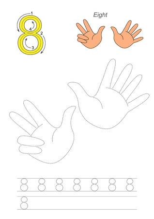 figure of eight: Vector exercise illustrated alphabet. Learn handwriting. Page to be traced. Complete english alphabet. Tracing worksheet for figure Eight Illustration