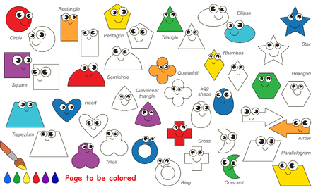 Conjunto De Formas Geométricas Para Colorear. Libro De Colorante ...