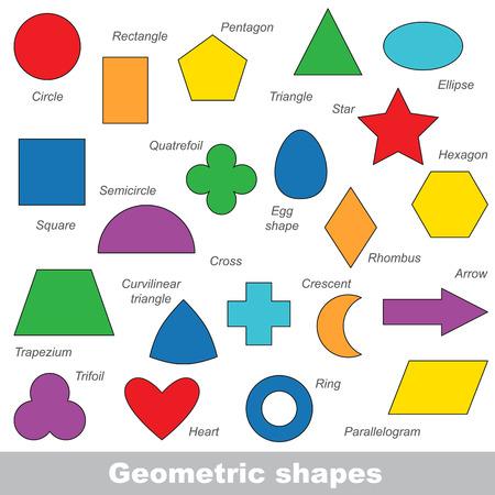 Un ensemble complet de formes géométriques simples dans le vecteur, la version colorée.