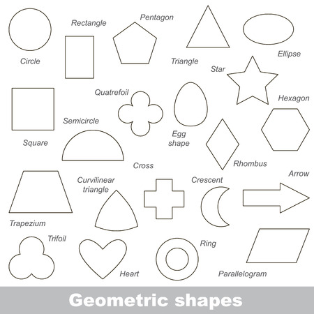 Complete set of simple geometric shapes in vector, the colorless version.