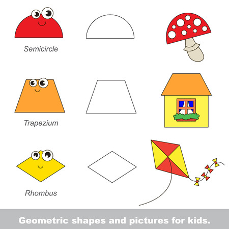 Simple geometric shapes for kids illustrated by relevant pictures. Illustration