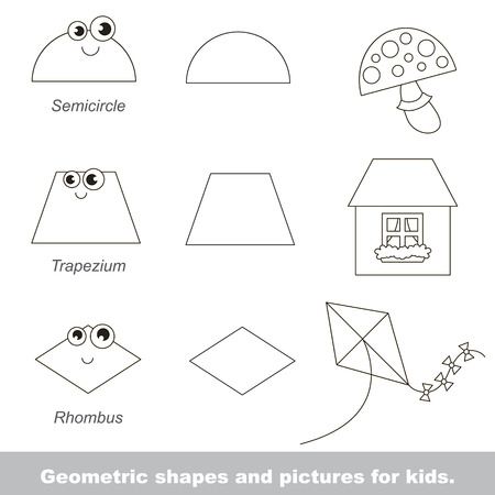 Simple geometric shapes for kids illustrated by relevant pictures. Stock Vector - 55771047