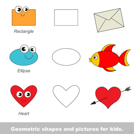 Simple geometric shapes for kids illustrated by relevant pictures. Stock Vector - 55771146
